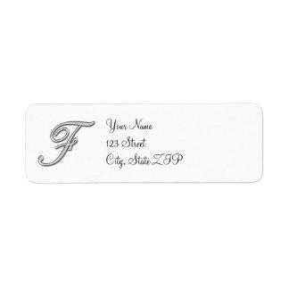 エレガントなガラスモノグラムの手紙F ラベル