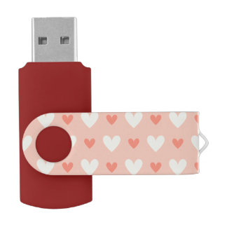エレガントなガーリーな愛ハート-およびシックなパターン USBフラッシュドライブ