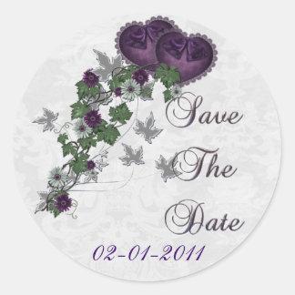 エレガントなキヅタの結婚式の続きの保存日付 ラウンドシール