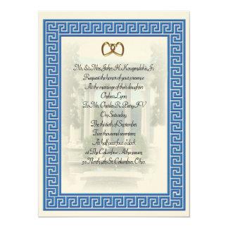 エレガントなギリシャの結婚式招待状の青の鍵 14 X 19.1 インビテーションカード