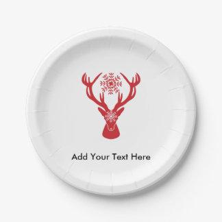 エレガントなクリスマスの雄鹿の赤と白アカシカ ペーパープレート