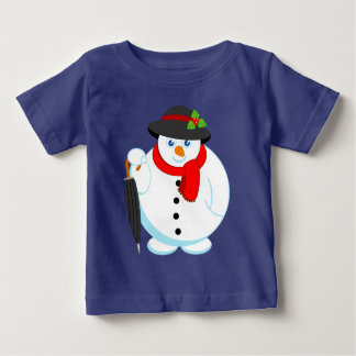 エレガントなクリスマスの雪だるまのおもしろいのモダンな漫画、 ベビーTシャツ