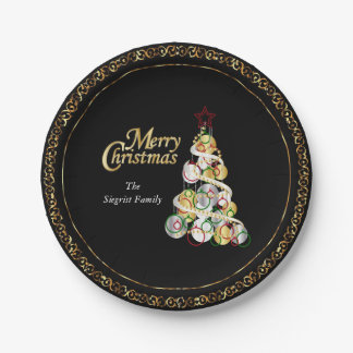 エレガントなクリスマスツリーのデザイン ペーパープレート