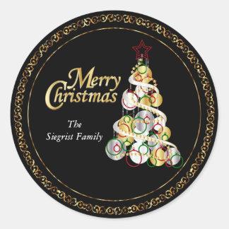 エレガントなクリスマスツリーのデザイン ラウンドシール