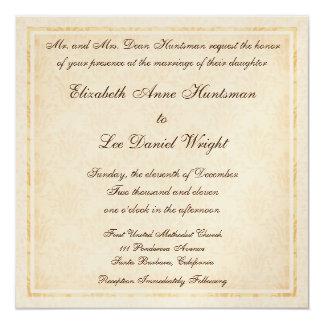 エレガントなクリーム色のダマスク織モノグラムのな結婚のInvitatio カード