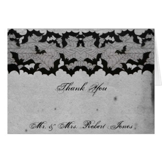 エレガントなゴシック様式こうもりのレースの優雅な結婚式は感謝していしています カード