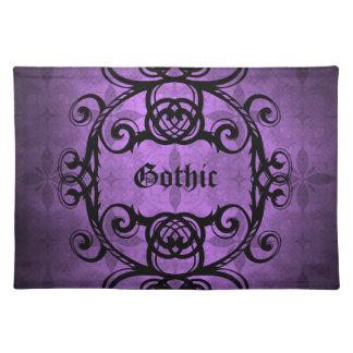 エレガントなゴシック様式ダマスク織の紫色および黒い装飾 ランチョンマット