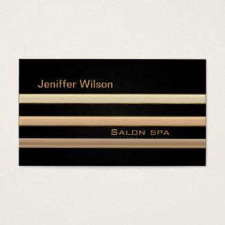 エレガントなシックなレザールックの金か青銅色は縞で飾ります 名刺
