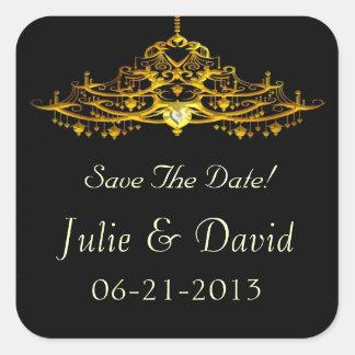 エレガントなシャンデリアの保存日付の結婚式 スクエアシール