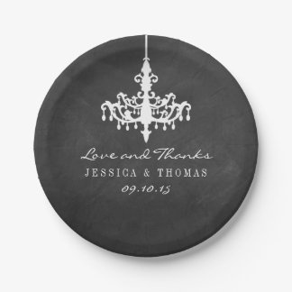 エレガントなシャンデリアの黒板の結婚式のコレクション ペーパープレート