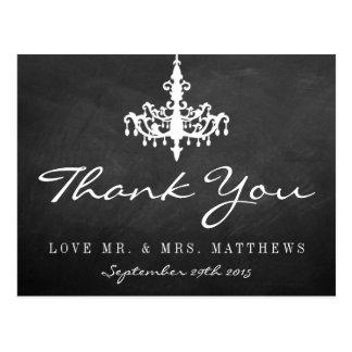 エレガントなシャンデリアの黒板の結婚式のコレクション ポストカード