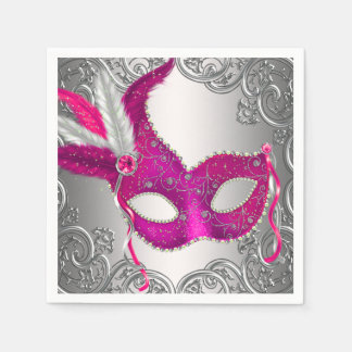 エレガントなショッキングピンクの仮面舞踏会のパーティ スタンダードカクテルナプキン