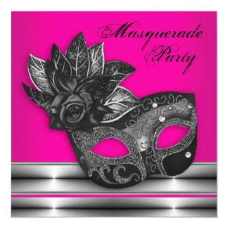 エレガントなショッキングピンクの黒の仮面舞踏会のパーティの招待状 カード