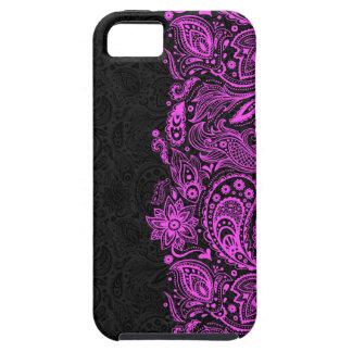エレガントなショッキングピンク及び黒い花のペイズリーのレース iPhone SE/5/5s ケース