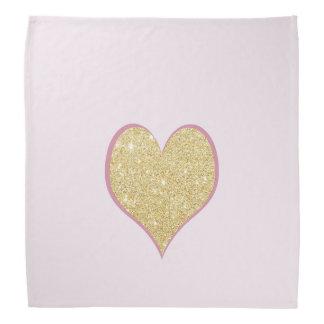 エレガントなシンプルのゆとりの金ゴールドのグリッターのピンクのハート バンダナ
