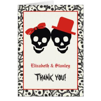 エレガントなスカルのハロウィンの赤い結婚式は感謝していしています カード