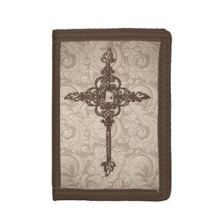 エレガントなスクロールキリスト教の十字w/Swirlの背景 ナイロン三つ折りウォレット