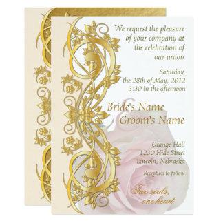 エレガントなスクロール結婚式招待状は-金ゴールド及び-1上がりました カード