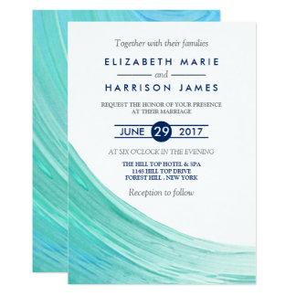 エレガントなターコイズの潮ビーチ結婚式の招待状 カード