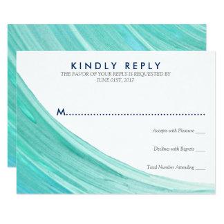 エレガントなターコイズの潮ビーチ結婚式RSVPカード カード