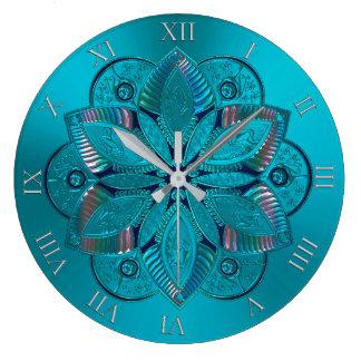 エレガントなターコイズの金属曼荼羅の時計 ラージ壁時計