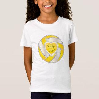 エレガントなダイヤモンドのハートの明るく黄色いバレーボール Tシャツ