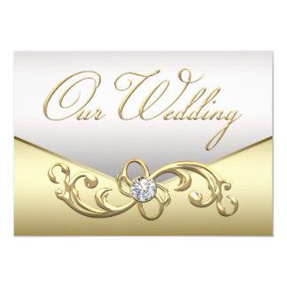 エレガントなダイヤモンドの銀および金ゴールドの結婚式招待状 カード