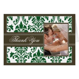 エレガントなダマスク織のカスタムなサンキューカード(緑か茶色) カード