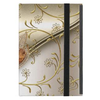 エレガントなダマスク織のカラメルのクリームのベージュ金ゴールドのこはく色 iPad MINI ケース