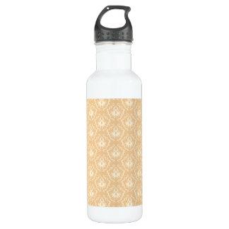 エレガントなダマスク織パターン。 ベージュ色およびクリーム ウォーターボトル