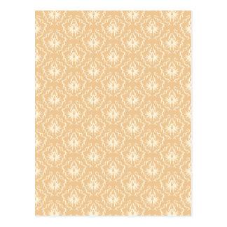 エレガントなダマスク織パターン。 ベージュ色およびクリーム ポストカード