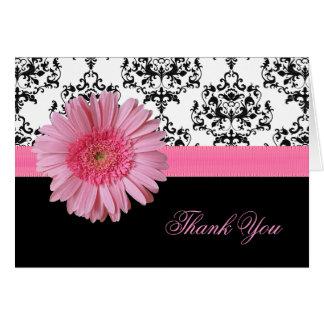 エレガントなダマスク織及びピンクのガーベラのデイジーのサンキューカード カード