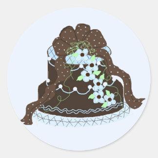 エレガントなチョコレートおよび青いケーキ ラウンドシール