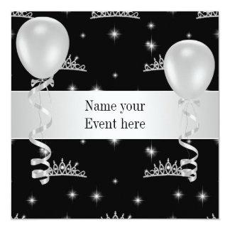エレガントなティアラの白黒は特別なイベントを風船のようにふくらませます カード