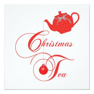 エレガントなティーポットのクリスマスの茶パーティの招待状 カード