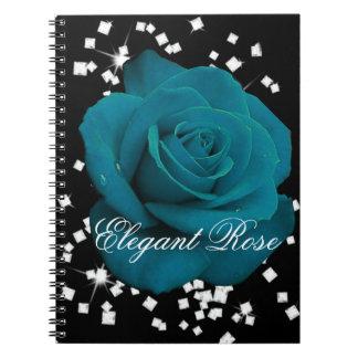 エレガントなティール(緑がかった色)のばら色のノート ノートブック