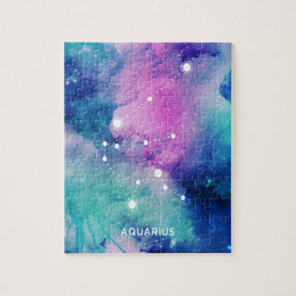 エレガントなティール(緑がかった色)のピンクの青い星雲のアクエリアス ジグソーパズル