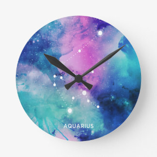 エレガントなティール(緑がかった色)のピンクの青い星雲のアクエリアス ラウンド壁時計