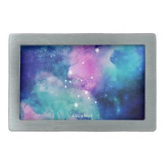 エレガントなティール(緑がかった色)のピンクの青い星雲のアクエリアス 長方形ベルトバックル