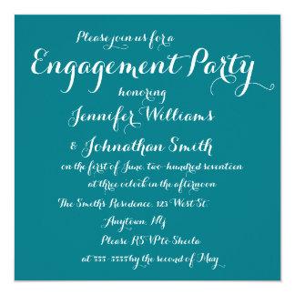 エレガントなティール(緑がかった色)の婚約パーティの招待状 カード