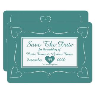 エレガントなティール(緑がかった色)の結婚式のハートのモノグラムの保存日付 12.7 X 17.8 インビテーションカード