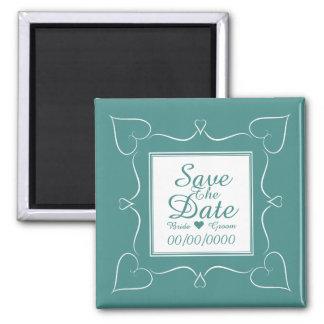 エレガントなティール(緑がかった色)の結婚式のハートの保存日付の磁石 マグネット