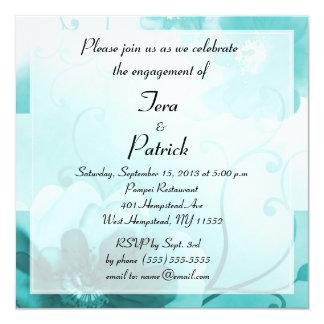 エレガントなティール(緑がかった色)の花の婚約パーティの招待状 カード