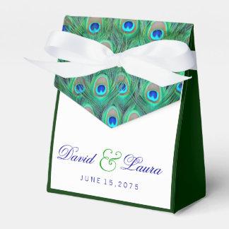 エレガントなティール(緑がかった色)の青い孔雀の結婚式 フェイバーボックス
