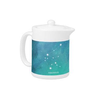 エレガントなティール(緑がかった色)の青い水彩画の星雲のアクエリアス
