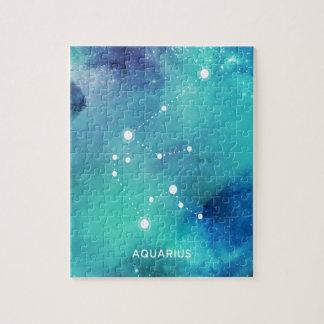 エレガントなティール(緑がかった色)の青い水彩画の星雲のアクエリアス ジグソーパズル
