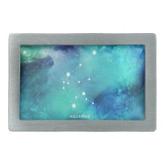 エレガントなティール(緑がかった色)の青い水彩画の星雲のアクエリアス 長方形ベルトバックル