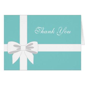 エレガントなティール(緑がかった色)の青く白いリボンは感謝していしています カード