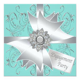エレガントなティール(緑がかった色)の青の婚約パーティ 13.3 スクエアインビテーションカード