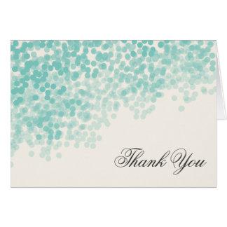 エレガントなティール(緑がかった色)ライトシャワーはノート感謝していしています カード